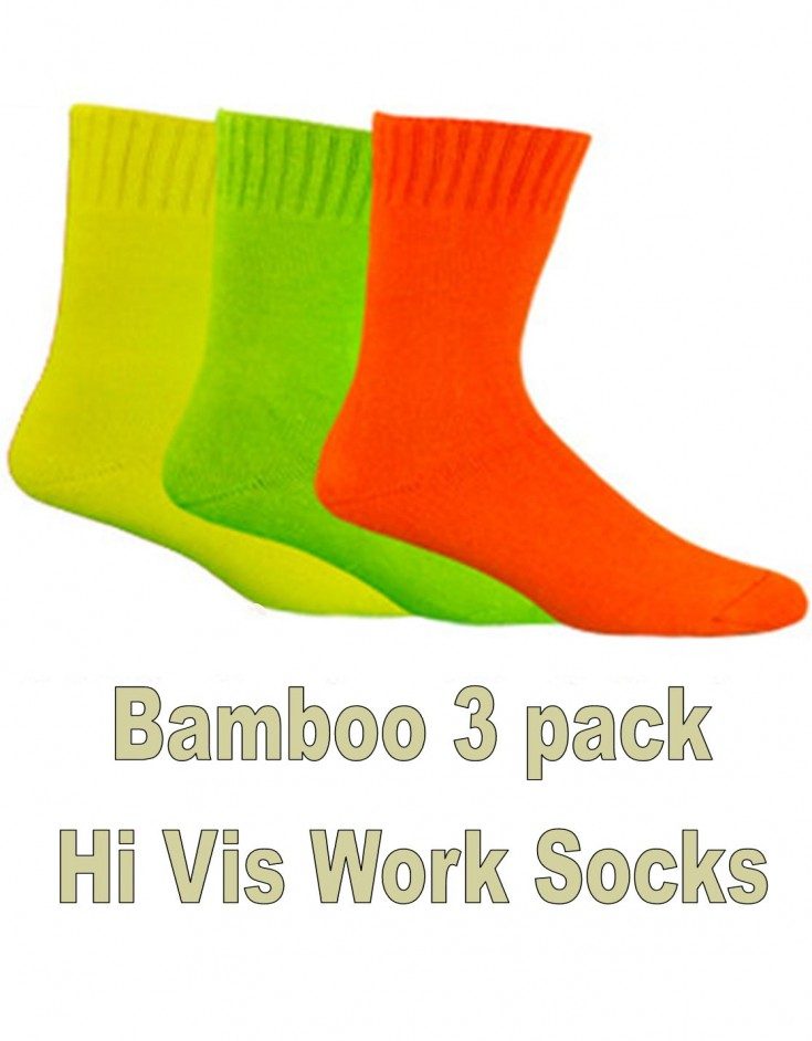 Bamboo Textiles 3 Pack Hi Vis Extra Thick Work Socks