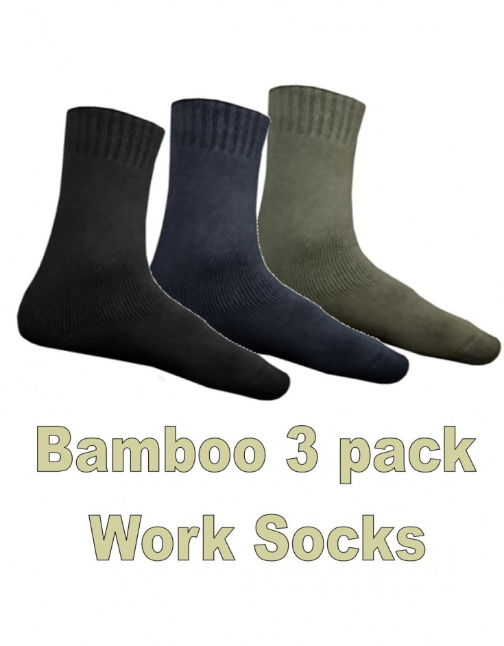 Bamboo Textiles 3 Pack Traditional Extra Thick Work Socks